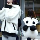 Women Lovely Panda Detachable Tail Zip Up Hoodie Outwear Cute New Sweats Pocket