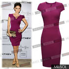Womens Ladies Wiggle V-neck Bodycon Office Business Slim Party Dresses Size81024