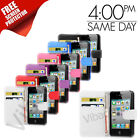 Premium Quality Apple iPhone 4 & 4S PU Wallet Leather Case Cover & Screen Guard