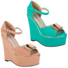 Dolcis Ladies Platform Gold Bow Womens Summer Party Wedge Heels Shoes Size 3-8
