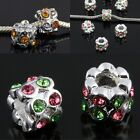Wholesale Crystal Rhinestone Cylinder Spacer Beads Fit European Charms Bracelet