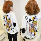 Lady Loose Poker Print Harajuku Sweatshirt Women White Long Sleeve Blouse Tops