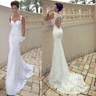 Sexy Mermaid lace Backless wedding dress Bridal Gown stock Size 6-18