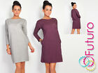 ☼ Unique & Trendy Women's Dress With Pockets ☼ Long Sleeve Crew Neck Tunic FT442