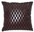 Sb217a Reddish Brown Faux Leather Black Faux Fur Cushion Cover/Pillow Case