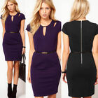 Formal Office Lady Stretch Hollowed Cap Sleeve Knee-Length Mini Dress 2 Color GK