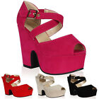 Womens Faux Suede Ladies Cross Over Strap High Heels Peep Toe Shoes Size 3-8