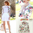 Womens One Button Lapel Casual Slim Suits Blazer Jacket Sleeve Coats 3 SIZE