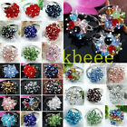 Women Crystal Glass Beads Knitted Flower Cocktail Adjustable Fashion Finger Ring