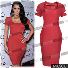 Ladies Cocktail Party Pencil Celeb Style Casual Midi Bodycon Dresses Size 681024