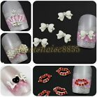 Pick 10/50pcs Silver Plated Love Lip Bow Crown 3D Alloy Nail Art Flatback Decals