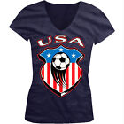 USA World Cup Soccer Flag Crest American Pride Girls Junior V-Neck T-Shirt