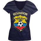 Ecuador World Cup Soccer Flag Crest Ecuadorian Pride Girls Junior V-Neck T-Shirt