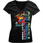 Colombia Play Hard World Cup 2014 Soccer Player Girls Junior V-Neck T-Shirt