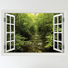 Full Colour Forest Woodland River Window Scene Wall Sticker Decal mural transfer