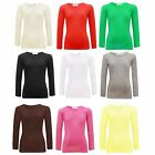 Girls Plain Long Sleeve Top Kids Children Crew Neck Tops Tee T-Shirt 2-13 Years