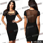 Womens Classy Celeb Party Dress Midi Tunic Mesh Tops Pencil Bodycon Dresses 6-18