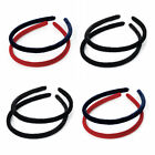 2 Piece Red & Navy or Black Velvet Headband Alice Band Set - Choose Your Shade