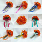 ARTIFICIAL SILK ORANGE DAISIES WEDDING FLOWER DECORATION GIRL BOUQUET BRIDESMAID