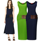 Womens Stretchy Plain Racer Back Ladies Long Vest Party Top Jersey Dresses 68102