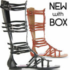 WOMENS LADIES TALL FLAT KNEE HIGH LEG STRAPPY GLADIATOR ROMAN SANDALS SHOES SIZE