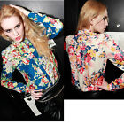 Womens Casual Chiffon Long Sleeve Flower Top Shirt Blouse Fashion New