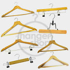 Adult Wooden Clothes Hangers -Trouser Shirt Skirt Coat with bar/ clips/ non slip