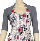 RoCkaBiLLy Silver Grey Short Sleeve Cropped Cardi Shrug ~ Retro Cardigan Bolero