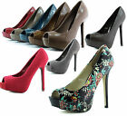 Lady Platform Peep Toe Casual Floral Fashion Wedding Dress Sexy Pump Shoes