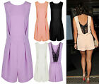 Ladies Celeb Wear Crew Neck Party Sexy Open Back Lace Cut Out Playsuit Sizes8-14
