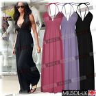 Women's Ladies Strap Sexy Deep V-neck Holiday Summer Beach Swimwear Maxi Dresses