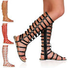 Womens Strappy Cut Out Ladies Knee High Leg Flats Sandals Shoes Size 3-8