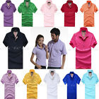 Colorful Couples New Summer Plain Red Blue Polo Shirt Jersey T-shirt Tops 4 Size