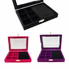 Color Velvet Glass Top Lid Jewelry Display Box for Rings Cuffs with Compartments