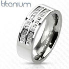 New Solid Titanium Double Centered Strings Micro Paved CZs Band Ring 8-13 (3644)