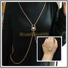 Women Fashion Gold Spide Jewelry Lady Necklace Body Chain Bracelet Finger Ring