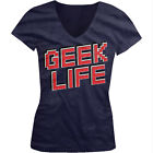 Geek Life - Computer Pixel Nerd Coder Girls Junior V-Neck T-Shirt