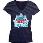 Guns Beer Freedom - America USA 4th Of July Stars Girls Junior V-Neck T-Shirt