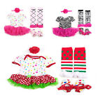 4pcs Newborn Infant Baby Girl Headband+Romper+Leg Warmer+Shoes Outfit Clothes