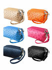 Women Ladies Ostrich Print Clutch Zipper Wallet PU Leather Handbag Purse Bag