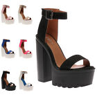 New Womens Summer Party Ladies Platform Heel Strappy Shoes Sandals Size 3-8