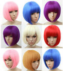Fashion Womens Neat Bang Short Hair Wig Bob BOBO Cosplay Wigs Heat Resistant