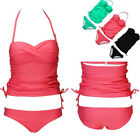 Sexy Swimwear Bikini Set Halter Padded Push-Up Strappy Swimsuit Bathing Suit