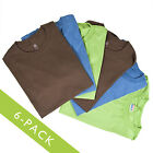 6 Men's Hanes 100% Cotton Tagless Relaxed Fit Casual T-Shirts Blue Brown Green