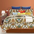 Luxury Yellow & Orange Paisley Design on White 300TC 100% Cotton Duvet cover Set