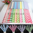 Colorful Striped Birthday Wedding Party Biodegradable Paper Drinking Straws