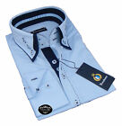 Brand New Mens Formal, Smart, Light Blue with Navy Double Collar Slim Fit Shirt
