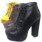 Lady Ankle Booties Platform High Heel Lace Up Dress Casual Round Toe Boots