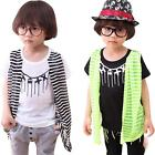 Kids Boys Girls Tees Striped Fake 2Pc Cute Summer Tops Toddlers T-shirts Age 2-7