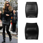 Fashion Women High Waisted Bodycon Faux Leather Casual Look Zip Short Mini Skirt
